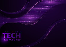 Dark Abstract Tech Background With Purple Elements - Detailed Graphic Illustration With Dark Geometric Shapes And Purple Decoration, Vector