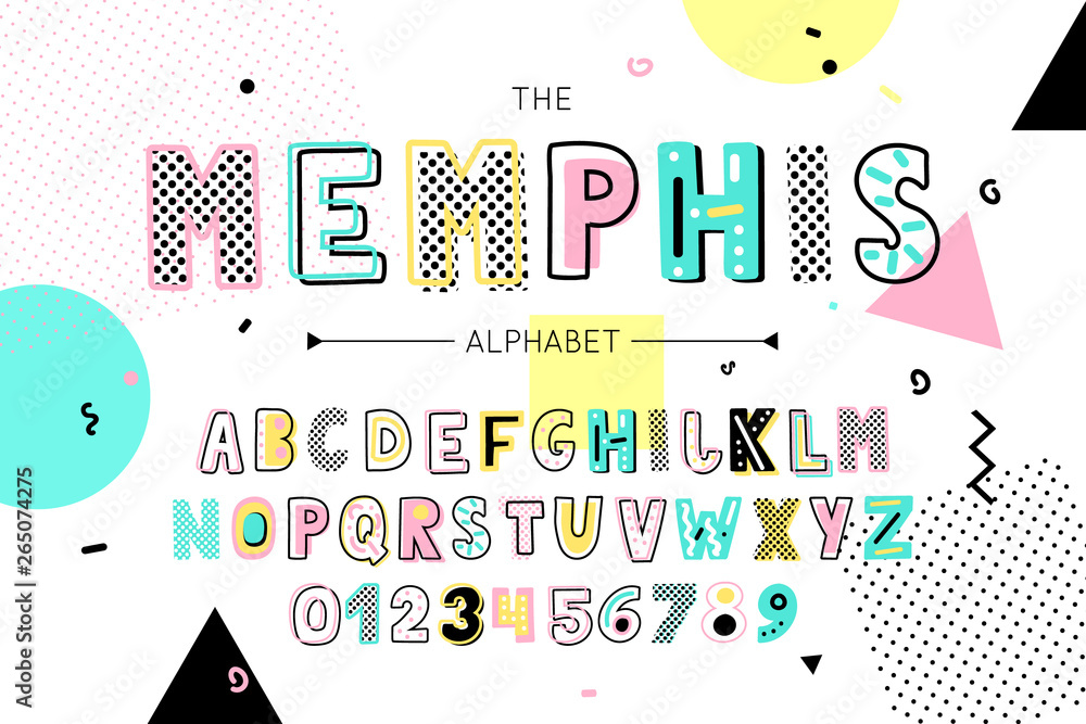 Fototapeta Memphis font and alphabet. Vector type with colorful abstract letters and numbers