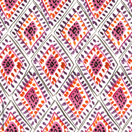 Türaufkleber Künstlich Seamless watercolor pattern with traditional moroccan rhombic ornament
