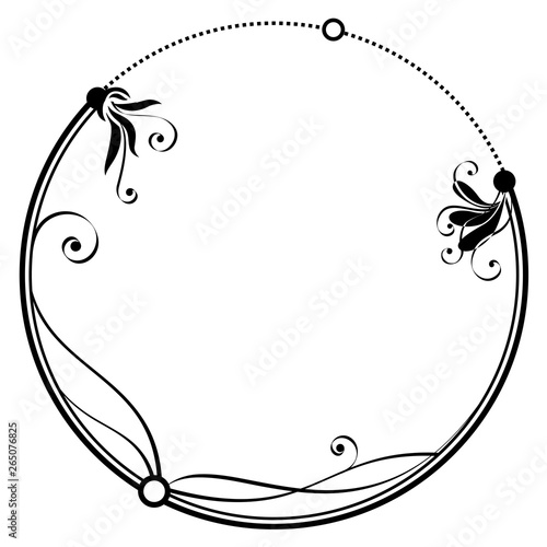 vector frame with stylized flowers in black and white colors Wall mural