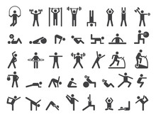 Fitness Symbols. Sport Exercise Stylized People Making Exercises Vector Icon. Fitness Exercise, Training Activity, Workout And Stretching Illustration
