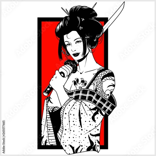 Fotografie, Tablou beautiful japanese geisha woman and traditional katana sword black and white vec