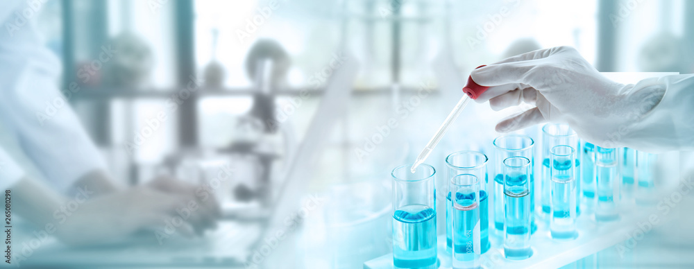 Fototapety, obrazy: Test tubes with liquid in laboratory, Doctor hand holding dropper with dripping or transparent glass pipette, dropper for instillation. scientist working in laboratory. Banner for website adverting.