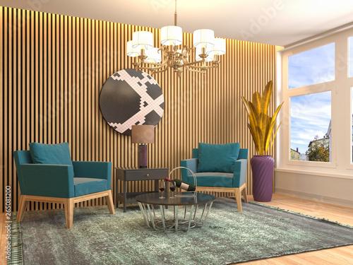 Foto auf AluDibond Gezeichnet Straßenkaffee interior with chair. 3d illustration