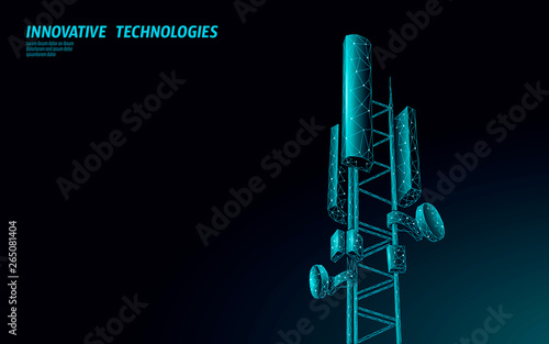 Obraz 3d base station receiver. telecommunication tower 5g polygonal design global connection information transmitter. Mobile radio antenna cellular vector illustration - fototapety do salonu