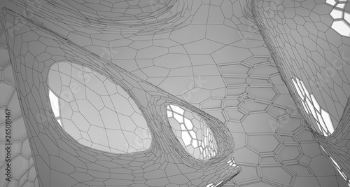 Fototapety, obrazy: Abstract drawing white interior multilevel public space with window. 3D illustration and rendering.