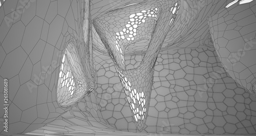 Garden Poster Decorative skeleton leaves Abstract drawing white interior multilevel public space with window. 3D illustration and rendering.