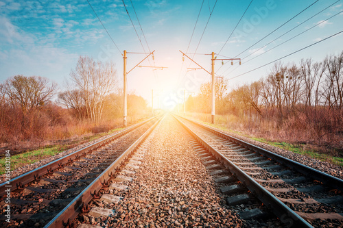 Foto op Plexiglas Zalm Train rails in country landscape