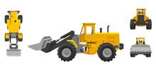 Bulldozer. 3d Vector Illustrat...