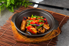 Chinese Food With Eggplant ,long Beans And Chillies Cooked In Claypot
