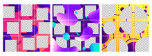 Fluid Shapes Post Template. Colorful Abstract Trendy Social Media Photo Frames Posts, Puzzle Grid Templates Layout Vector Set