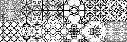 Arabic seamless pattern. Geometric islamic ornament, ramadan pattern and arab ornaments vector set