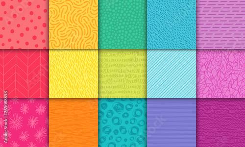 Fotografija Abstract hand drawn rainbow geometric simple minimalistic seamless patterns set