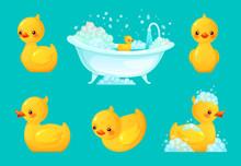 Yellow Bath Duck. Bathroom Tub...