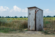 Old Rural Wooden Toilet In The...