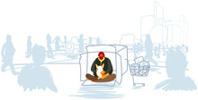 Poor Man Sitting With Dog Begging For Help Out From Crowd Beggar Guy Embracing Animal Best Friend Homeless Concept Horizontal Full Length Sketch Doodle