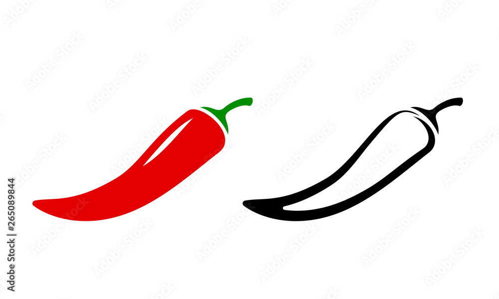Fototapeta Spicy chili hot pepper icons. Vector Asian and Mexican spicy food and sauce, red and black outline chili peppers