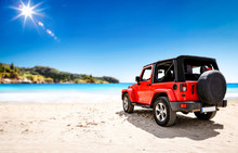 Red Summer Car On Beach And Fr...