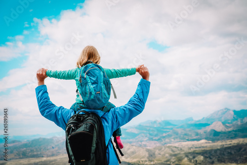 fototapeta na ścianę happy father with little daughter travel in nature