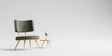 Modern Armchair With Wooden Sm...
