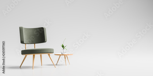 Fotografía Modern armchair with wooden small coffee table isolated on soft gray background