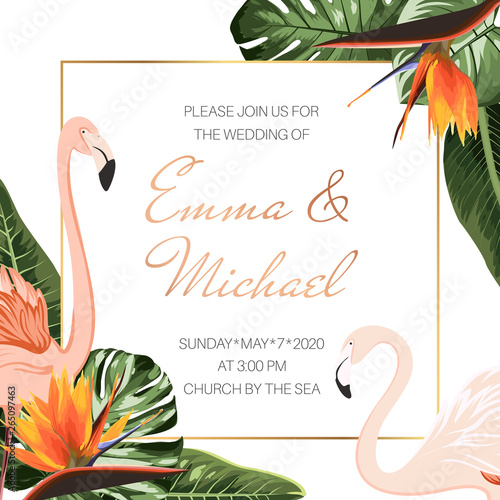 Fototapeta Wedding Event Invitation Card Template Tropical Monstera Philodendron Leaves Pink Flamingos Orange Strelitzia Flowers