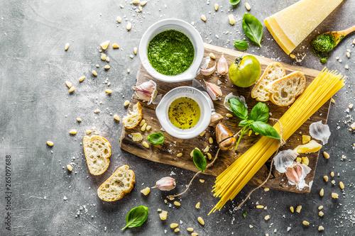 Ingredients for pesto and chiabatta bread Fototapeta