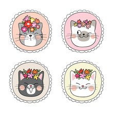 Draw Cat With Flower In Vintage Frame.