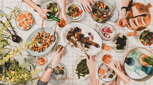 Fotografie, Obraz  Family or friends gathering dinner