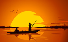 Two Silhouettes In The Boat On Lake In Sunset