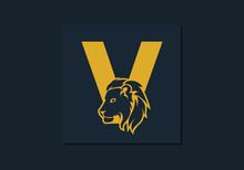 Lion Head Inside Letter V. Abs...