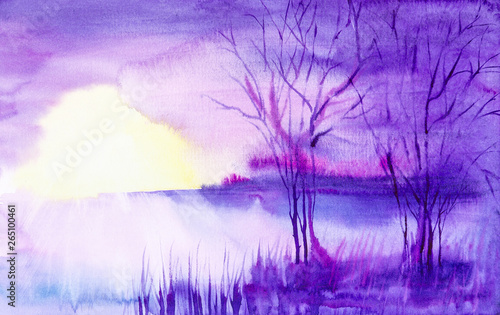 Printed kitchen splashbacks Purple Watercolor illustration of a beautiful summer forest landscape by the lake