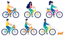 Set Of Flat Vector People Ridi...