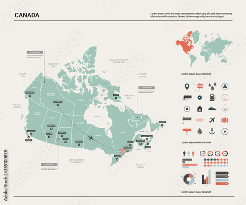 Obraz na plátně Vector map of Canada