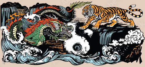 Naklejki tygrys   zielony-chinski-smok-wschodnioazjatycki-kontra-tygrys