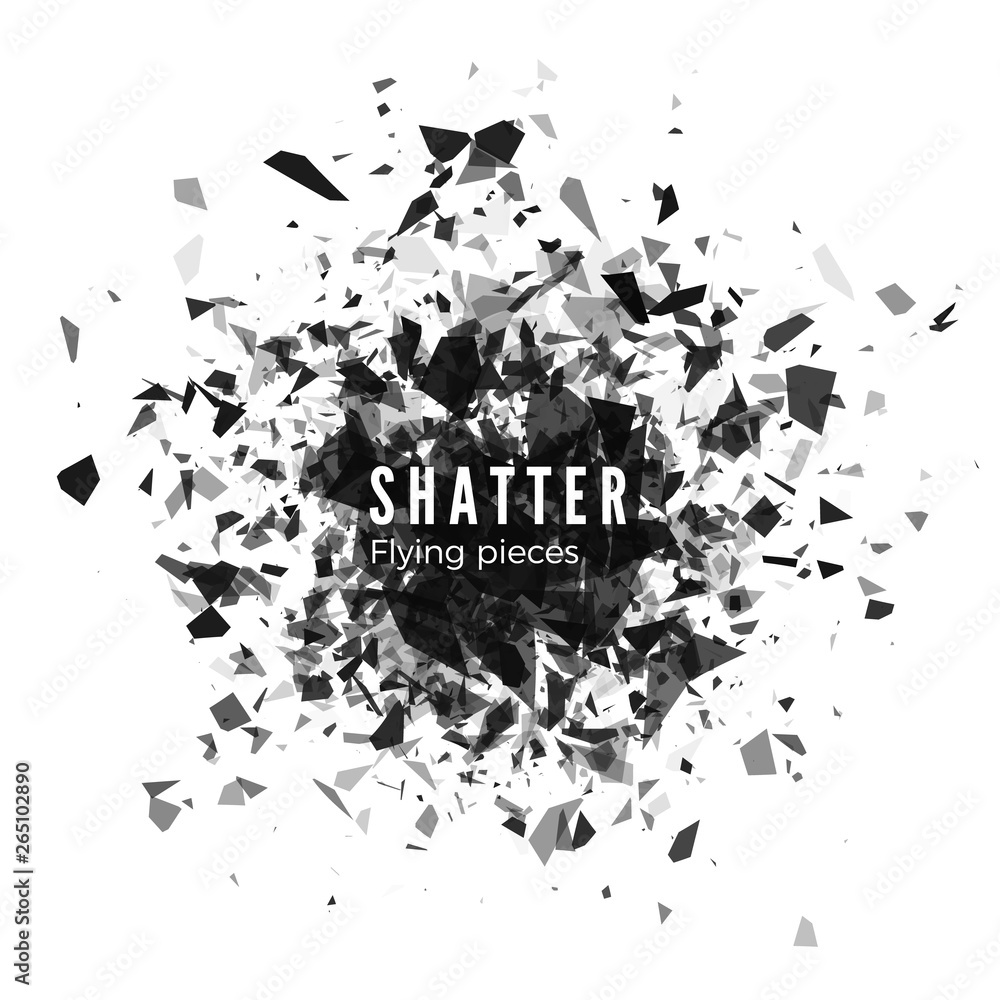 Fototapeta Shatter and destruction effect. Abstract cloud of pieces and fragments after explosion. Vector illustration isolated on white background