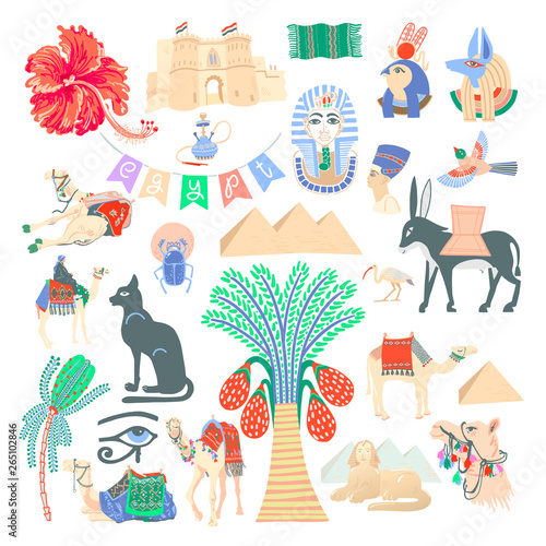 Foto auf AluDibond Boho-Stil set of 26 hand drawing egyptian icon symbols in trendy minimalistic modern style