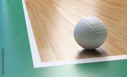 Volleyball with white color on Wooden Court Floor Corner