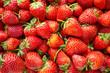Leinwandbild Motiv Fresh organic Strawberry fruit background Top view closeup