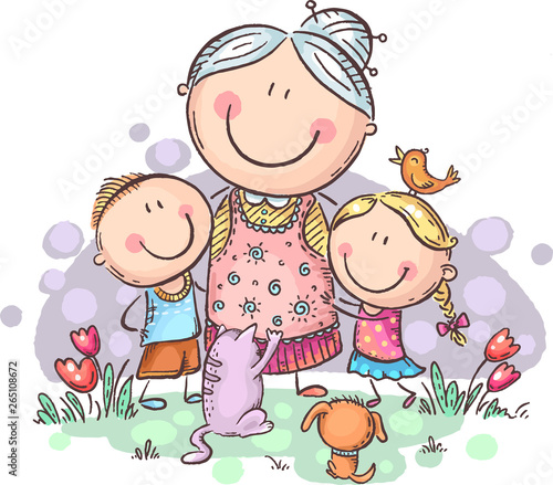 Fototapeta Everyone loves granny, grandmother with grandchilren and pets, colorful vector c