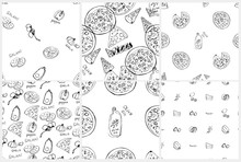 Seamless Pattern Set With Hand Drawn Pizza Slices.