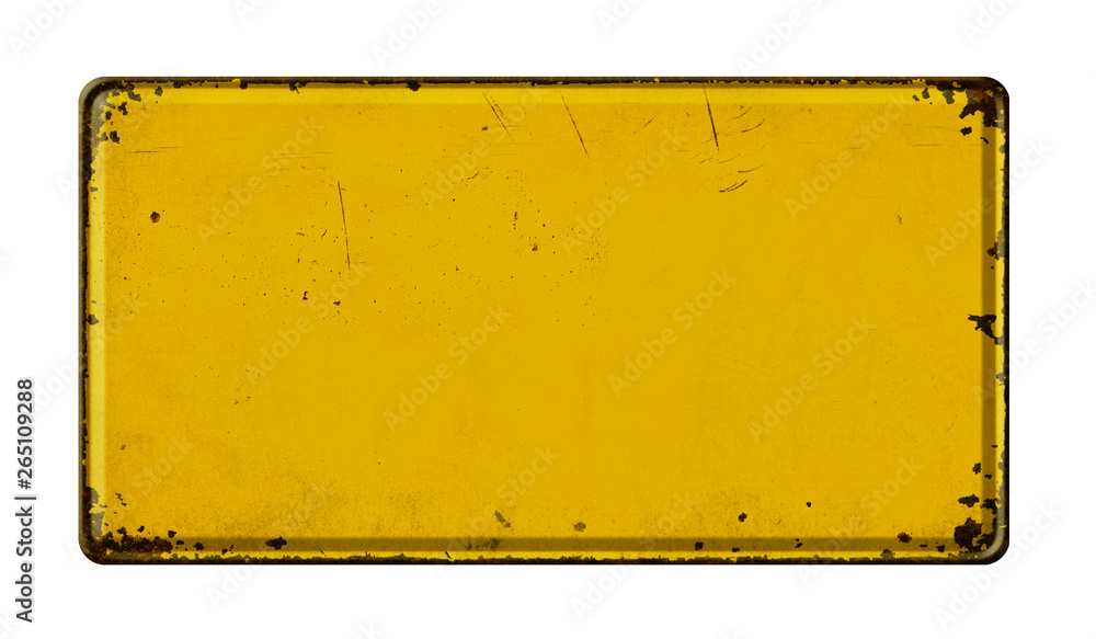 Fototapety, obrazy: Empty vintage metal sign on a white background