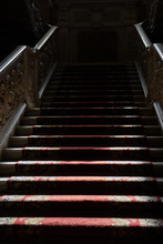 Stairs To The Haunted House. A Mysterious Passage Of Shadows Ghost In The Darkness.