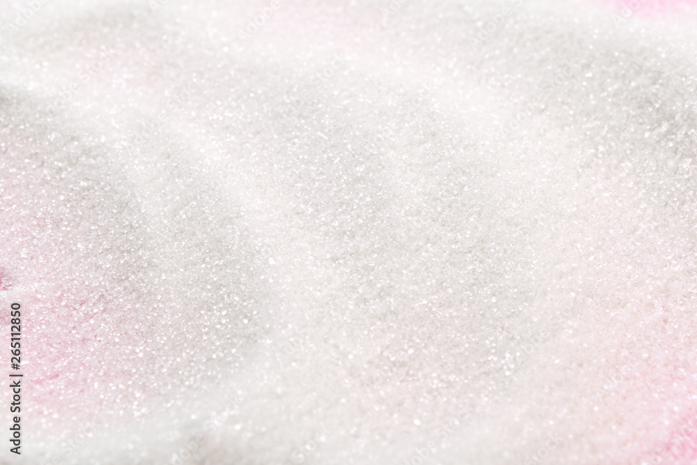 Fototapety, obrazy: White sugar on a pink background top view