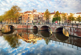 Amsterdam canal Singel with typical dutch houses, Holland, Netherlands. - 265120285