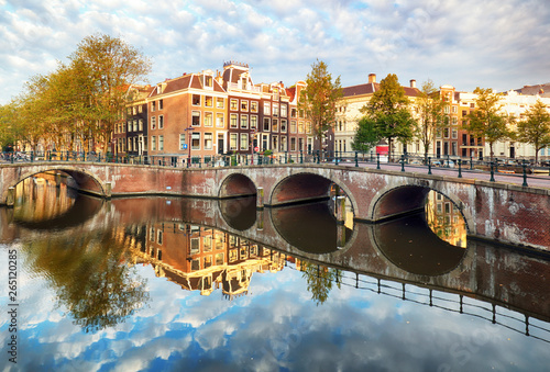 Photo  Amsterdam canal Singel with typical dutch houses, Holland, Netherlands