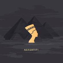 A Vector Icon Image Of The Queen Of Egypt Nefertiti Profile Isolated On A Background Of The Egyptian Pyramids.