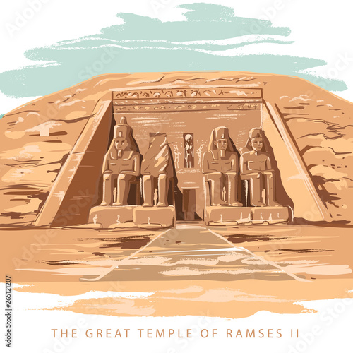 Obraz na plátně  Colorful vector illustration the great temple of Ramses 2 hand drawn in white background