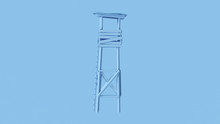 Pale Blue Simple Wooden Watch Tower 3d Illustration