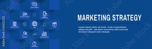 Slika na platnu Marketing Strategy Web Header Hero Image Banner with inbound lead generation, ch